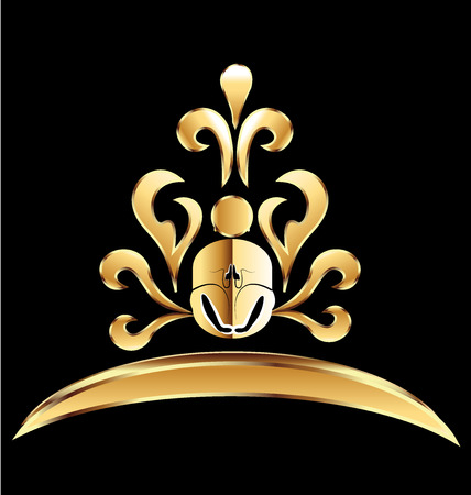 massage symbol: Gold lotus flower yoga