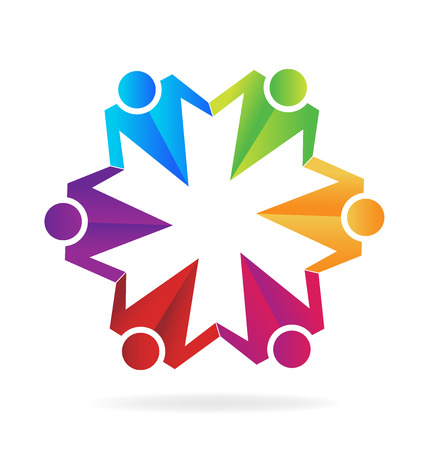 Teamwork business hugging people  vector image template