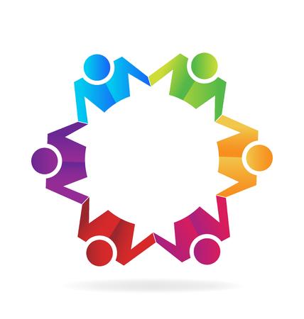 computer education: Teamwork business hugging people  vector image template