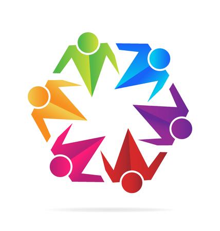 together voluntary: Teamwork business hugging people  vector image template