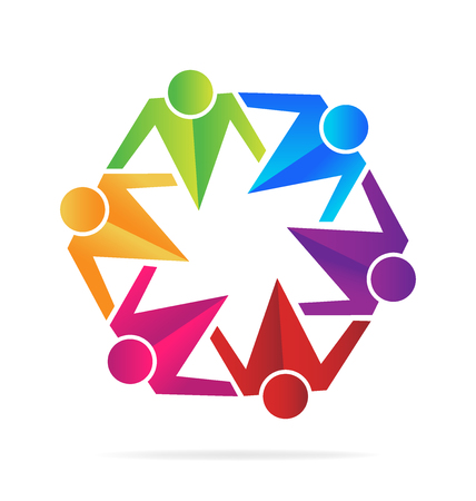 Teamwork business hugging people  vector image template