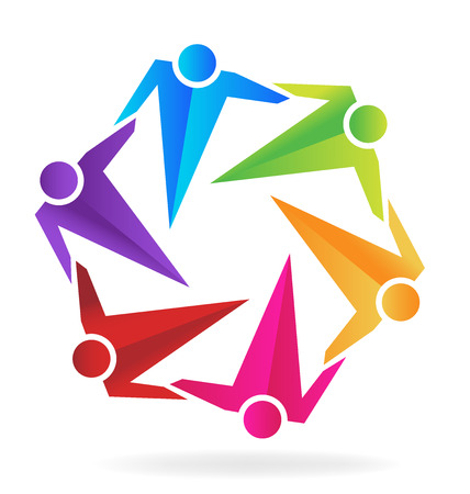 voluntary: Teamwork business hugging people  vector image template