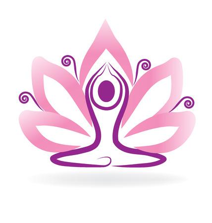 mind body soul: Lotus flower meditation yoga Illustration