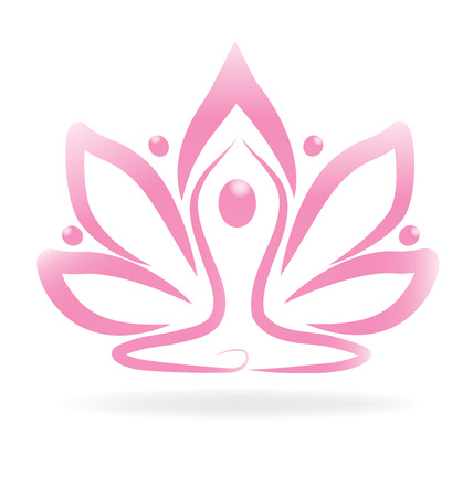man symbol: Lotus pink flower yoga Illustration