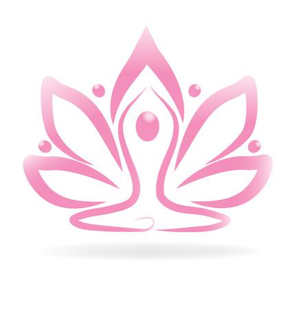Lotus yoga flor rosa Ilustração