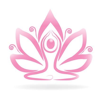 rural india: Lotus pink swirly flower yoga logo