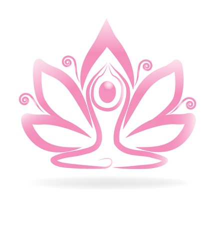 Lotus pink swirly flower yoga logo