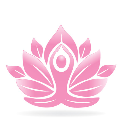 mujeres orando: Lotus flor hombre de yoga Vectores