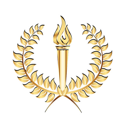 Ancient torch laurel icon