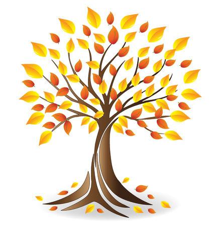 Ecology fall tree  vector Çizim
