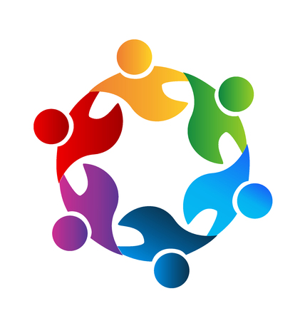 employee stock option: Teamwork business happy people icon web could be children or workers in a success business logo template