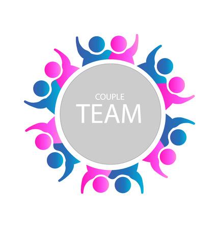 las parejas Trabajo en equipo icono de la gente del partido negocio en la Web podría ser adultos en una relación o una plantilla de negocios de éxito
