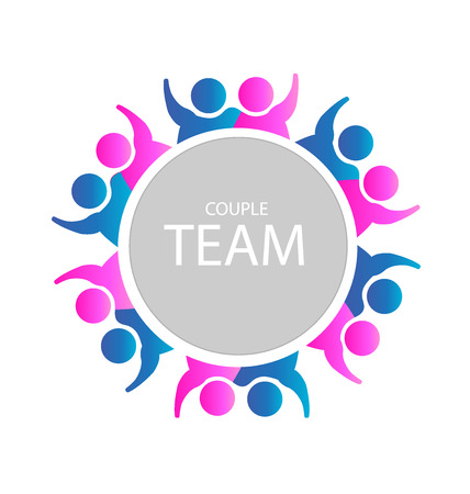 Teamwork couples business party people icon web could be adults in a relationship or a success business  template