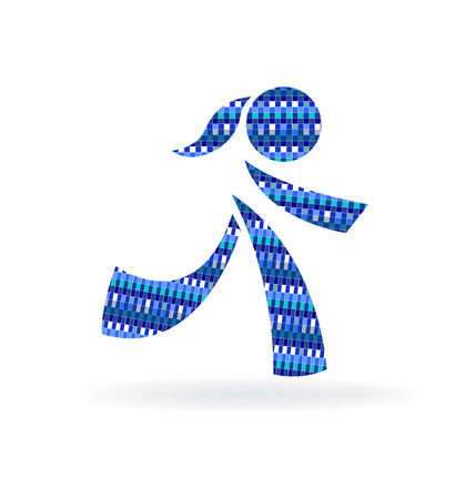Blue girl symbol icon vector Illustration