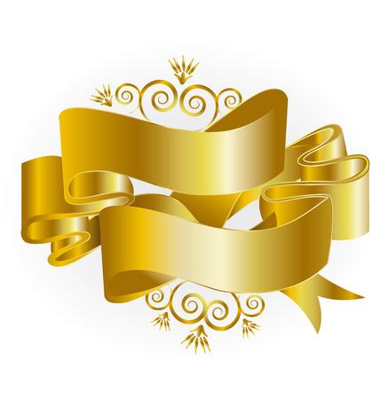 moños navideños: swirly cintas de oro de la Navidad