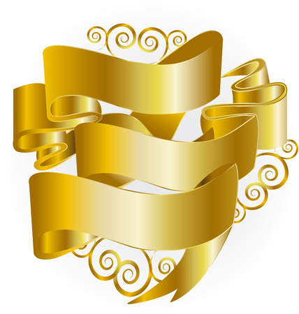 Christmas gold swirly ribbons