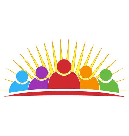 non stock: Vector family or friendship symbol concept of union identity card icon background