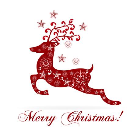 greetings card: Christmas reindeer greetings card Illustration