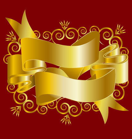 Christmas gold ribbons or red background