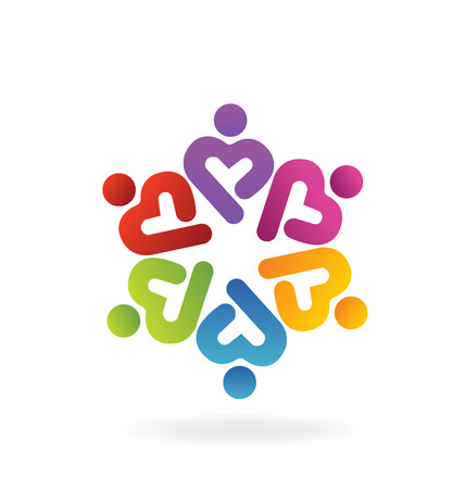 swooshes: Teamwork heart love charity icon vector Illustration