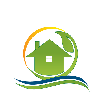 real estate business: Green house real estate business card design vector icon