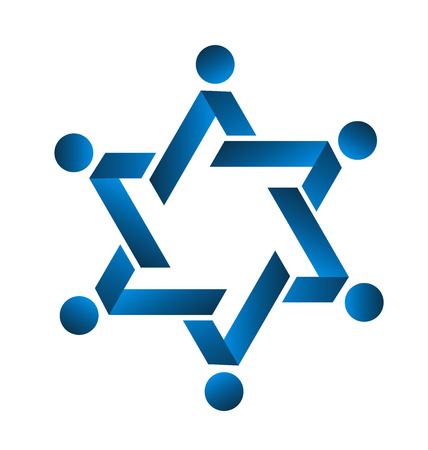 together voluntary: Teamwork blue star people icon vector Illustration