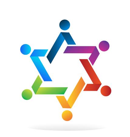 helping: El trabajo en equipo colorido estrella de la gente del icono del vector