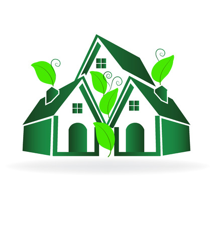 townhouses: Green houses. Real estate concept icon vector