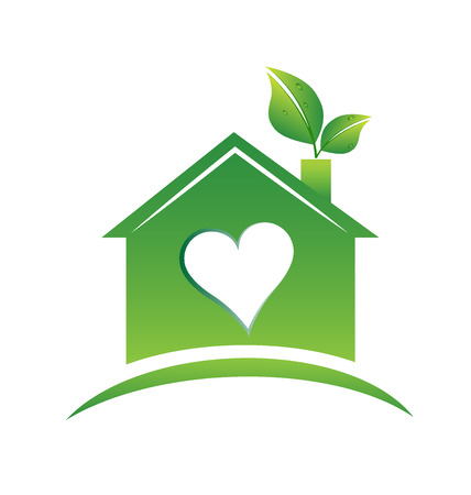 Green house concept icon.  Real estate love heart door house logo business design Vectores