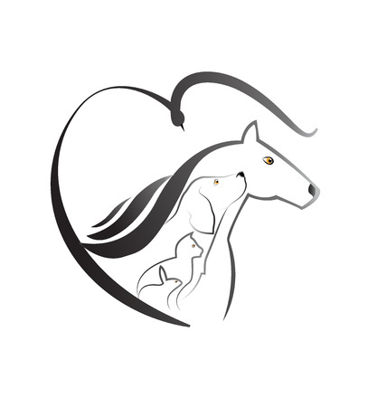 paddock: Pets love farm animals icon logo (Cat dog horse bird and rabbit) Illustration