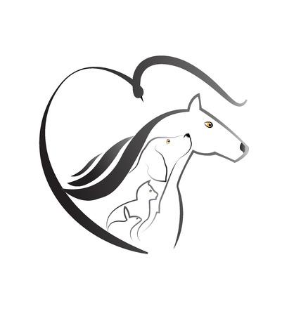 Pets love farm animals icon logo (Cat dog horse bird and rabbit) Illustration