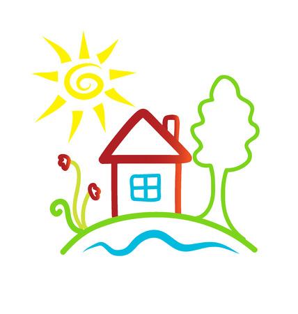 House sketching icon background Illustration
