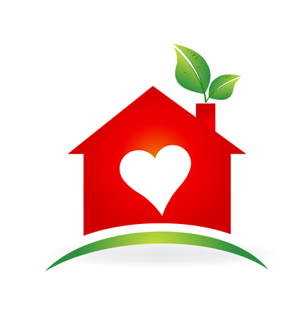 modern house: Red love house with leafs icon identity business card