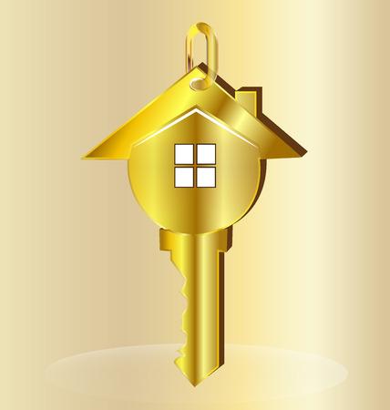 Gold key house logo vector design Illustration