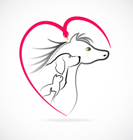 Pets love farm animals icon logo (Cat dog horse bird and rabbit) 일러스트