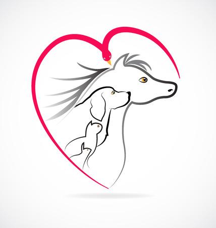 pet breeding: Pets love farm animals icon logo (Cat dog horse bird and rabbit) Illustration