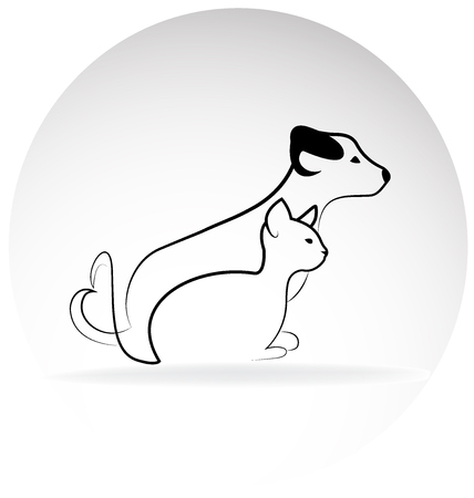 Cat and dog friends silhouette vector logo