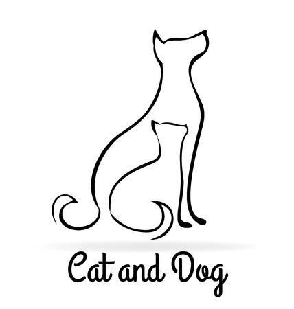 Cane e gatto sagome di disegno vettoriale immagine del logo Archivio Fotografico - 66204067