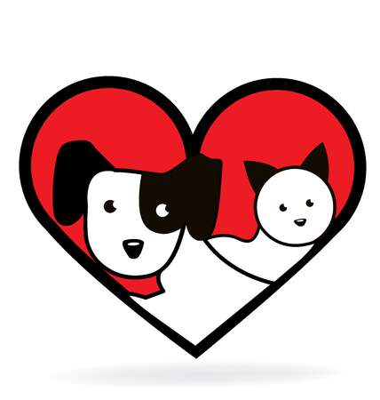 Love heart dog and cat graphic design icon 向量圖像
