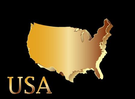 topografia: Mapa de símbolos EE.UU. 3D oro y brillo Estados Unidos de América.