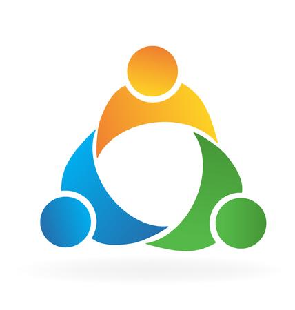 familias unidas: El trabajo en equipo de prueba socios de negocios insignia de la gente del icono del vector
