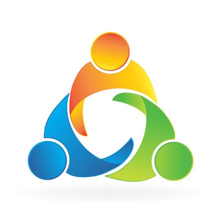 personas abrazadas: socios de negocios el trabajo en equipo de los ensayos personas de la mano logotipo del icono del vector
