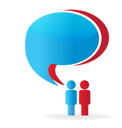 Business couple people social media network speech bubbles (talking) Illustration