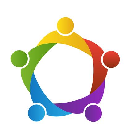 Il lavoro di squadra logo aziendale. Concetto di unione comunità obiettivi solidarietà partner figli grafica vettoriale. Questo modello logo rappresenta anche colorato bambini che giocano insieme abbracci e l'unità di dipendenti operai incontro