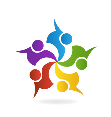 Teamwork business logo. Concept of community union goals solidarity partners children vector graphic. This logo template also represents colorful kids playing together holding hands in circles union of workers employees meeting