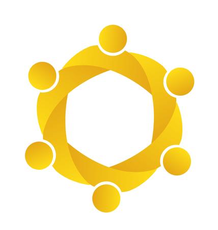 banco mundial: logotipo de la empresa el trabajo en equipo. Concepto de Unión comunidad metas solidaridad socios hijos gráfico vectorial. Esta plantilla logotipo también representa colorido niños que juegan junto abrazos y unidad de la reunión de los trabajadores empleados Vectores