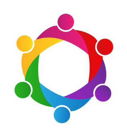 Logotipo de la empresa el trabajo en equipo. Concepto de Unión comunidad metas solidaridad socios hijos gráfico vectorial. Esta plantilla logotipo también representa colorido niños que juegan junto abrazos y unidad de la reunión de los trabajadores empleados Foto de archivo - 66204091