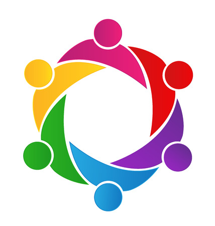 employee stock option: Teamwork business logo. Concept of community union goals solidarity partners children vector graphic. This logo template also represents colorful kids playing together hugs and unity of workers employees meeting Illustration