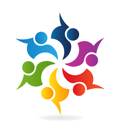 Teamwork Logo. Concept of community union goals solidarity partners children vector graphic. This logo template also represents colorful kids playing together holding hands in circles union of workers employees meeting