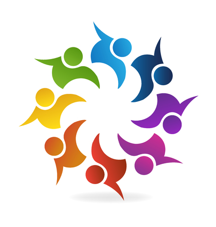 employee stock option: Teamwork Logo. Concept of community union goals solidarity partners children vector graphic. This logo template also represents colorful kids playing together holding hands in circles union of workers employees meeting